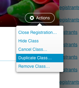 Course actions menu with duplicate class highlighted
