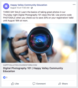 Example of a promo code advertised in a post on Facebook