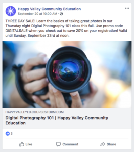 Advertising a promo code in a Facebook post