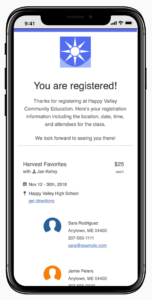 A preview of the new CourseStorm email design on a mobile device