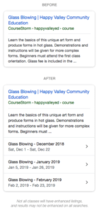 A before and after comparison of how CourseStorm results may look in search engines, with more class info available in the new result.
