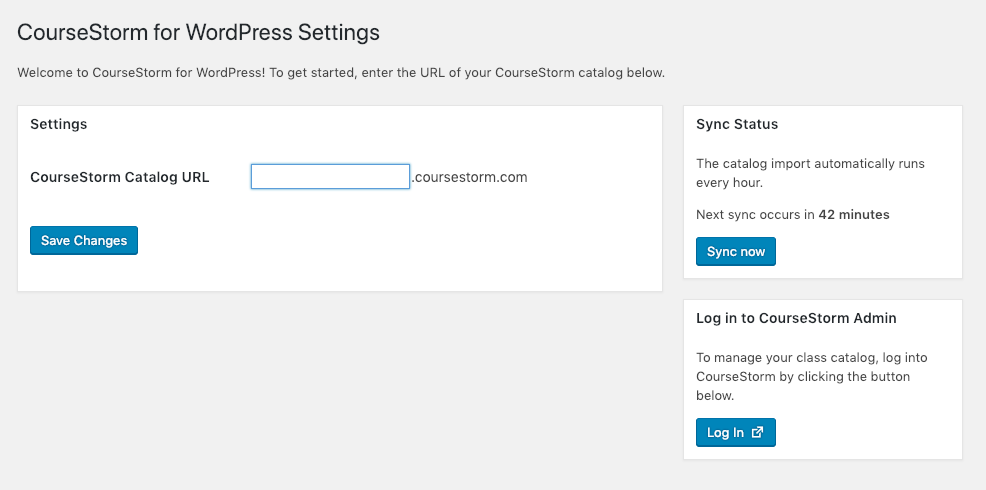 CourseStorm for WordPress settings screen