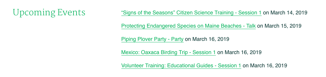 The CourseStorm widget on the Maine Audubon site