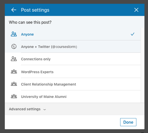 Screenshot of a LinkedIn post in progress showing the post settings section where an audience may be specified.