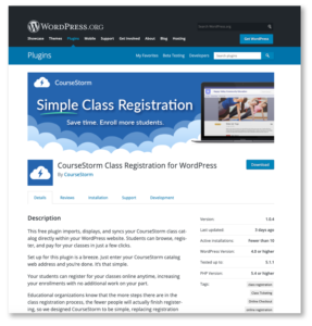Image of the CourseStorm Class Registration for WordPress plugin in the WordPress repository