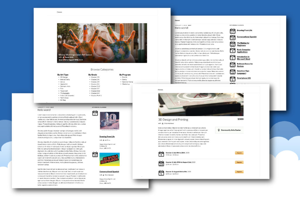 Screenshots of the CourseStorm for WordPress plugin on a live WordPress site.