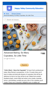 CourseStorm screenshot featuring an image of an attractive cupcake decorating scene from above.