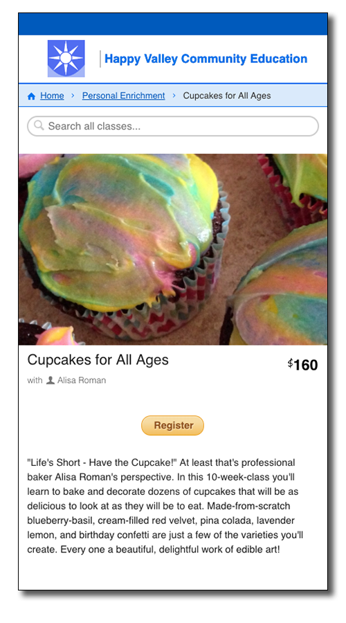 CourseStorm screenshot featuring an image of ordinary cupcakes with rainbow swirled frosting