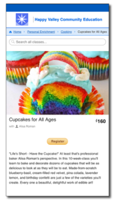 CourseStorm screenshot with a picture of rainbow cupcakes with fancy frosting like a sky and clouds, with a candy rainbow between the clouds.