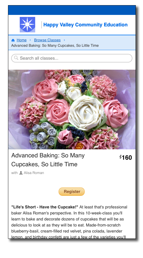 CourseStorm screenshot featuring an image of cupcakes decorated like flowers and presented as if a bouquet.