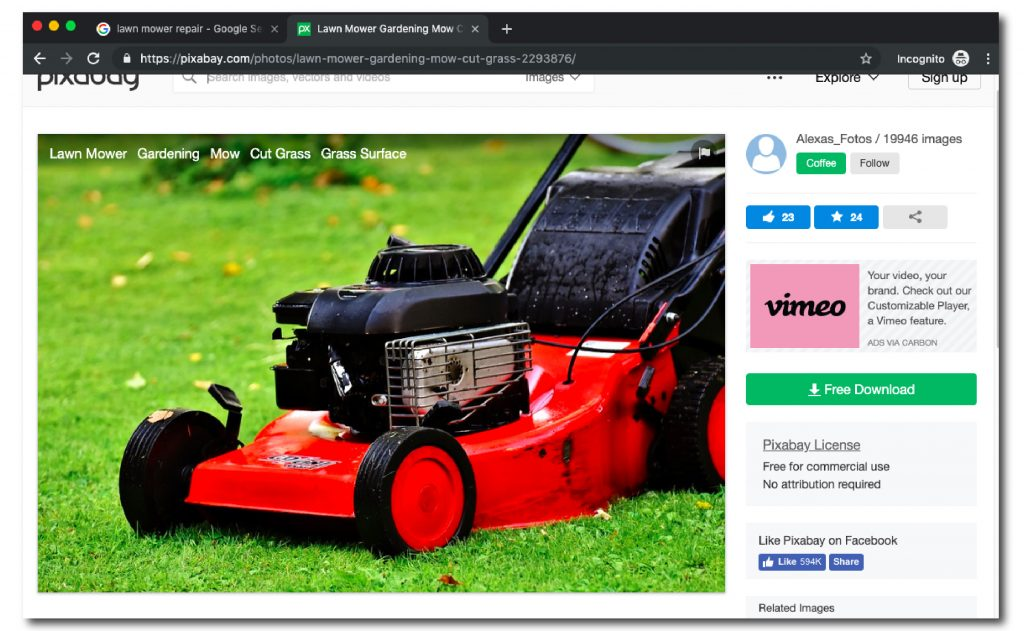 screenshot of a red lawnmower shown on the Pexels website with download button