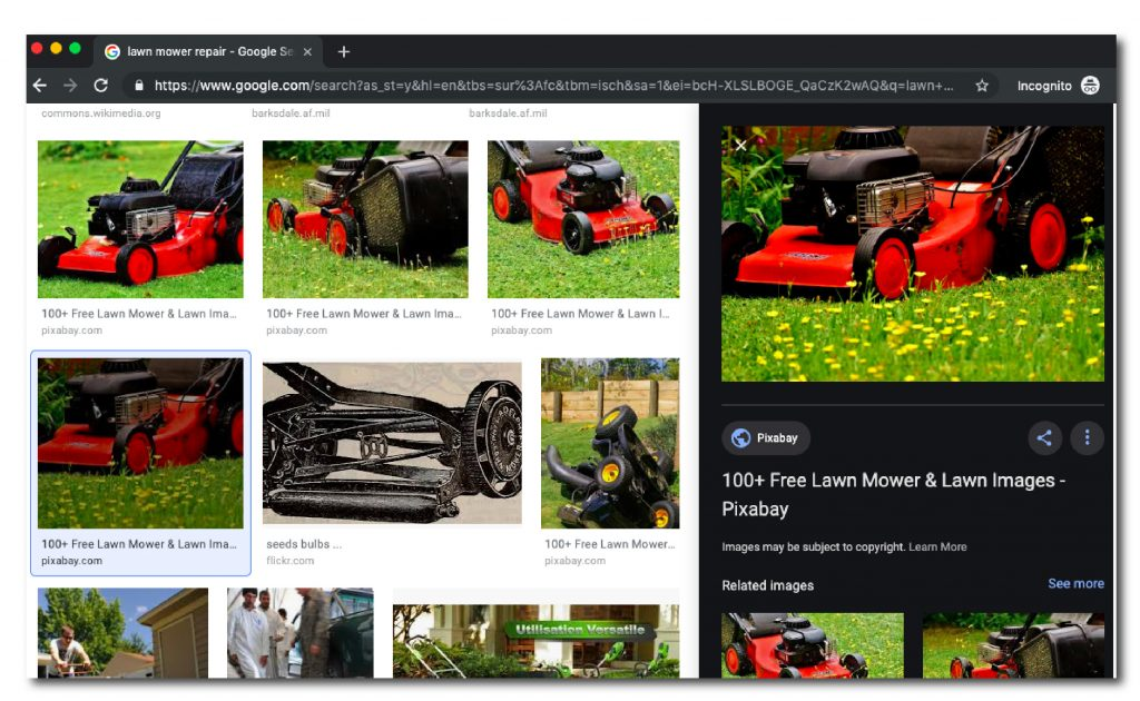 Image of Google results page featuring a lawn mower image in the right hand expanded pane