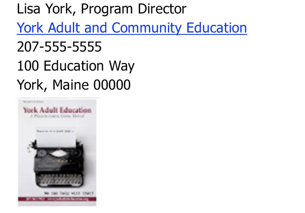Image of email signature for York Adult and Community Education in York, Maine, which includes an image of their print catalog cover.
