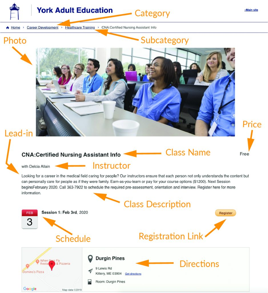 image of an individual class entry in a CourseStorm catalog with components as described above