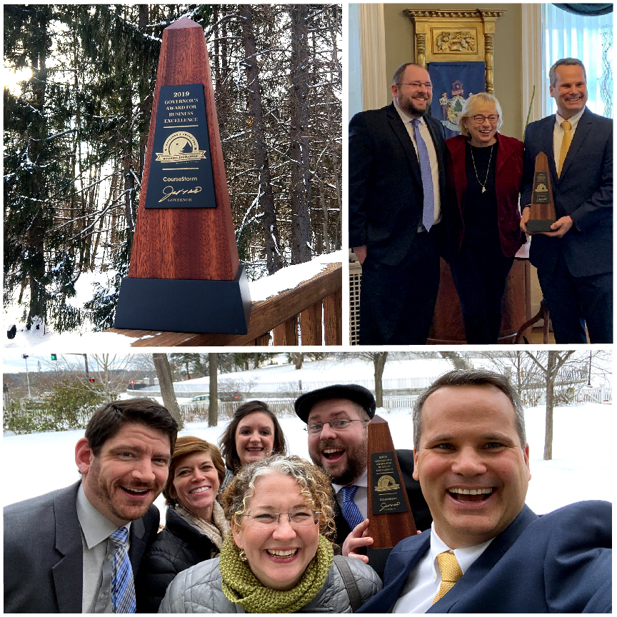 photo montage: 1. 2019 Governor's Award for Business in Innovation statue; 2. co-founders Matt James and Brian Rahill with Maine Governor Janet Mills; 3. a CourseStorm team selfie