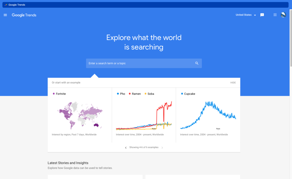 A Google Trends screenshot of the landing page and search box